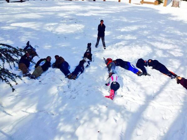 william and mary students spell out W and M in snow