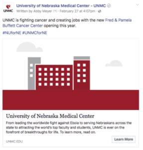 Facebook ad: UNMC is fighting cancer and creating jobs with the new Fred & Pamela Buffett Cancer Center opening this year