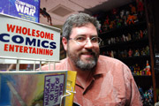 Jeff with his comic book display