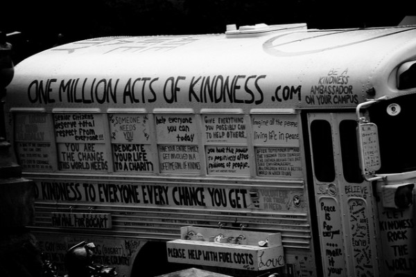 bus with kindness quotes all over it
