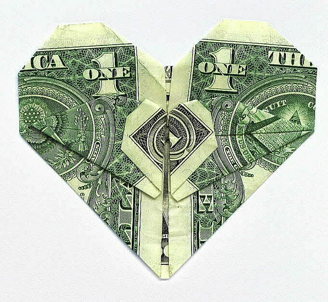 dollar bill folded like a heart