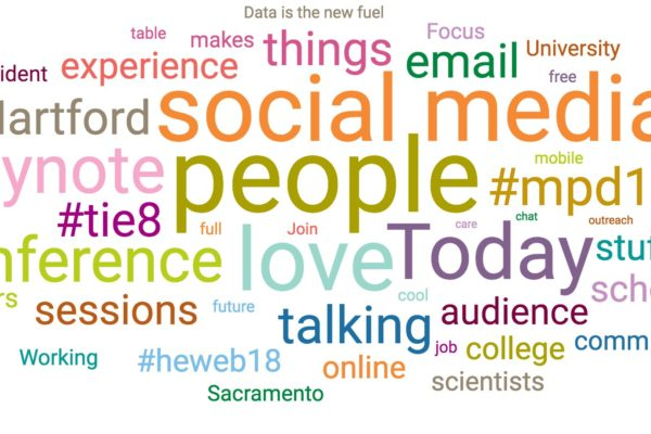 "A word cloud showing that ""people"" was the most popular word in #heweb17 tweets"