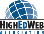 HighEdWeb Association spelled out in logo form underneath globe