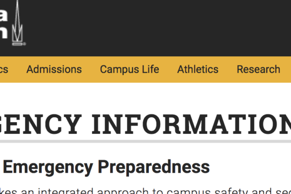 Screen shot of Georgia Tech's emergency page
