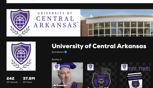 screengrab of University of Central Arkansas GIPHY channel showing presidential gifs, mascot gifs and more