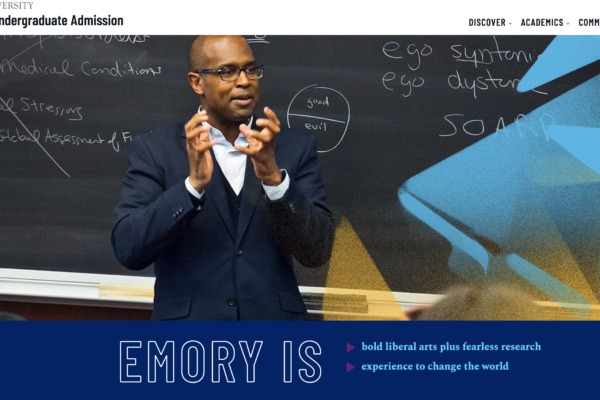 A screen shot of emory's admissons site, showing a professor in a jacket lecturing in front of a blackboard