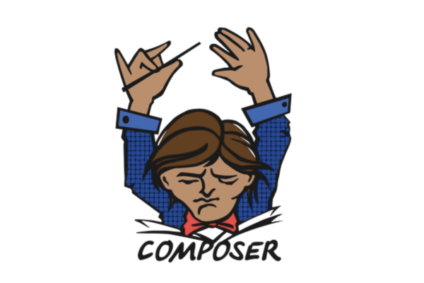The logo for Composer, a cartoon conductor with his arms raised over his head with a baton as if he's conducting an orchestra