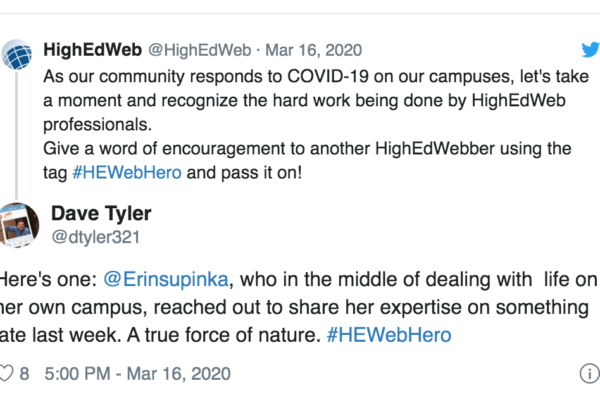 HighEdWeb reaches out for people to suggest who their heroes are, with many wonderful responses about awesome folks in the community