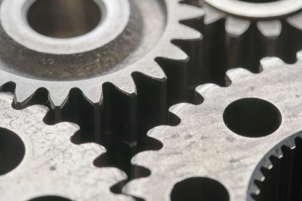 Macro view of gears connecting