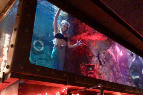 a mermaid performs in an aquarium atop a bar