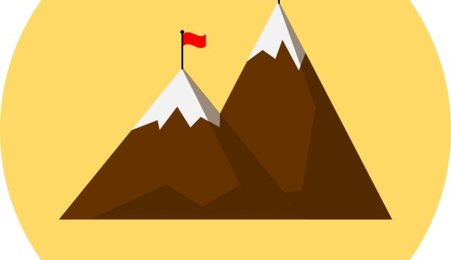 an illustration of mountains with flags on top