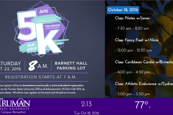 A digital sign promoting Truman State's 5k.