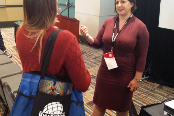 Victoria Merriman talks to #heweb17 attendee about usability testing